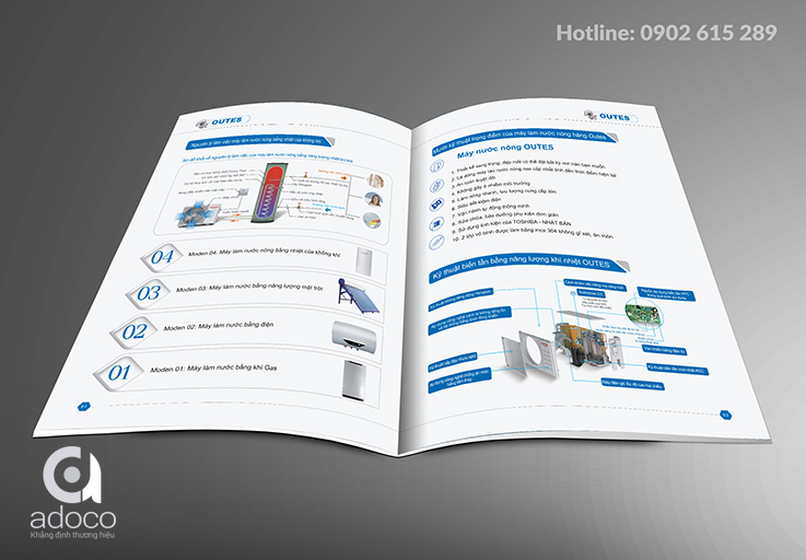 thiet ke catalogue cong ty may nuoc nong outes
